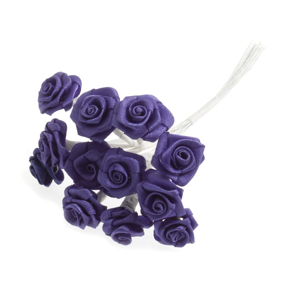 Ribbon Rose: 15mm: Pack of 12: Light Purple