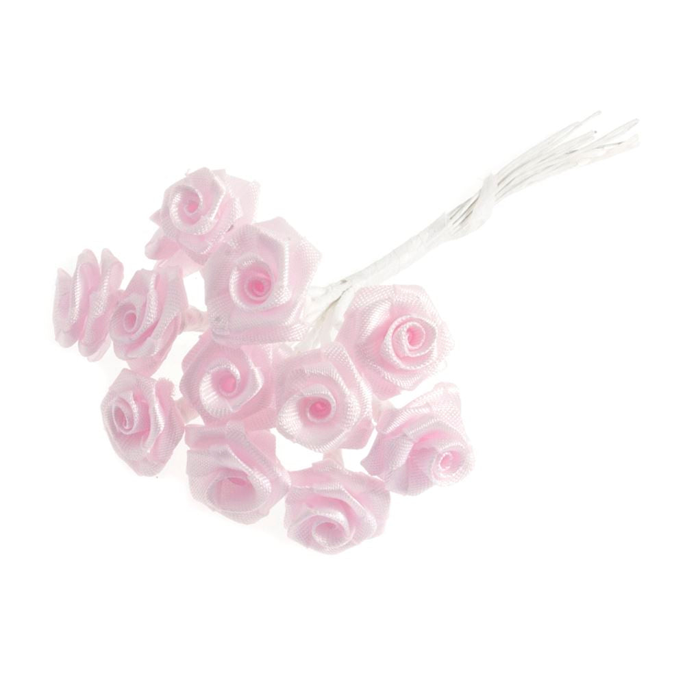 Ribbon Rose: 15mm: Pack of 12: Pink