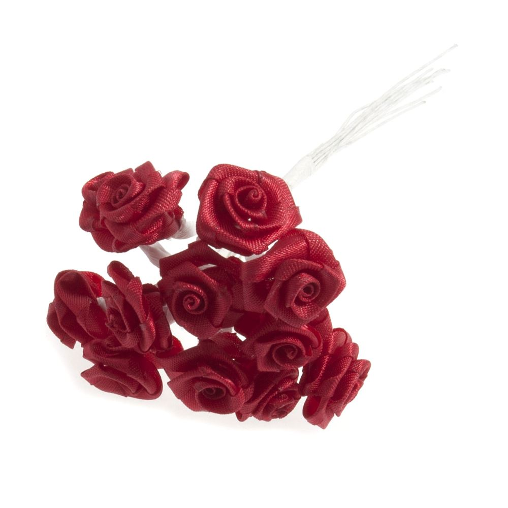 Ribbon Rose: 15mm: Pack of 12: Red