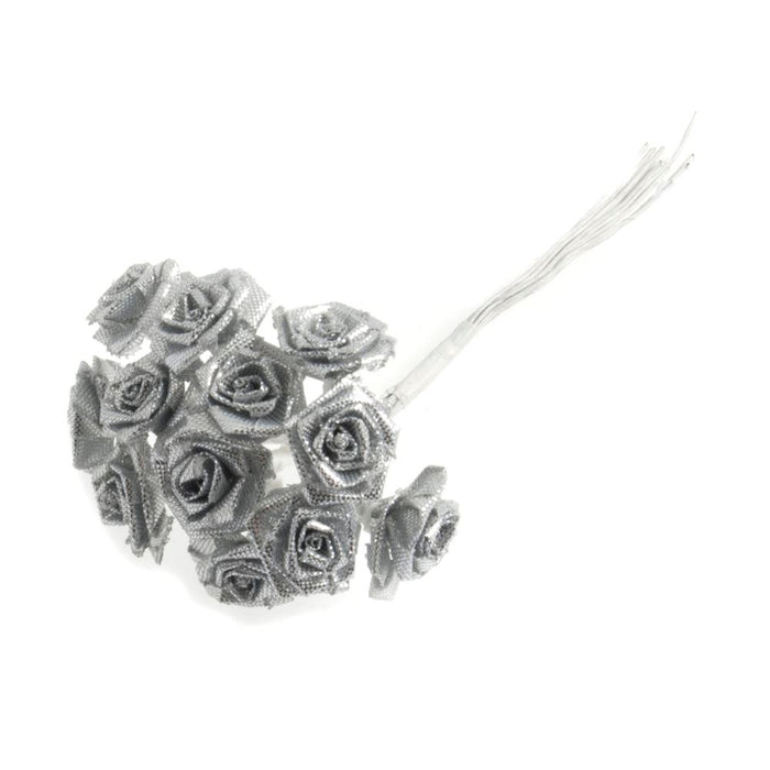 Ribbon Rose: 15mm: Pack of 12: Silver