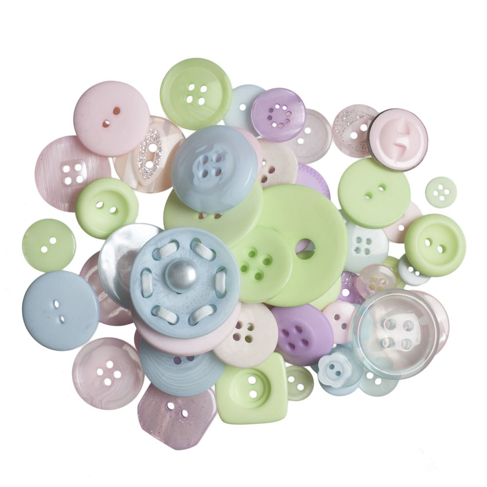 Bag of Craft Buttons: Assorted Pastels: 60g