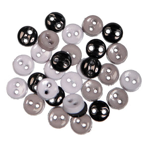 Mini Craft Buttons: Round: Black: 2g