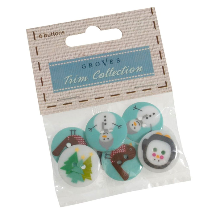 Christmas Buttons: 8 x 15mm: Penguins: Pack of 8