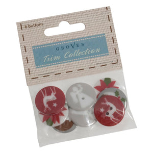 Christmas Buttons: 8 x 15mm: Puddings: Pack of 8