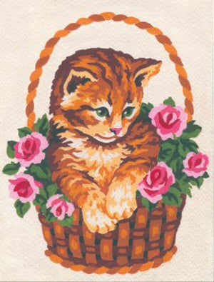 Tapestry Kit: Kitten in Rose Basket