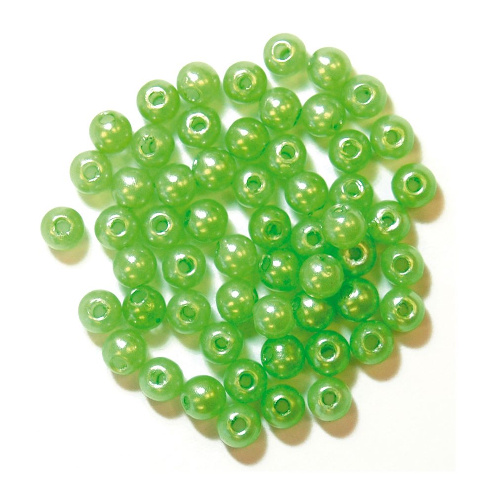 Pearls: 4mm: Lime Green: Packs of 7g