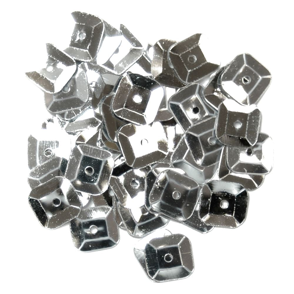 Sequins: Square: 7mm: Silver