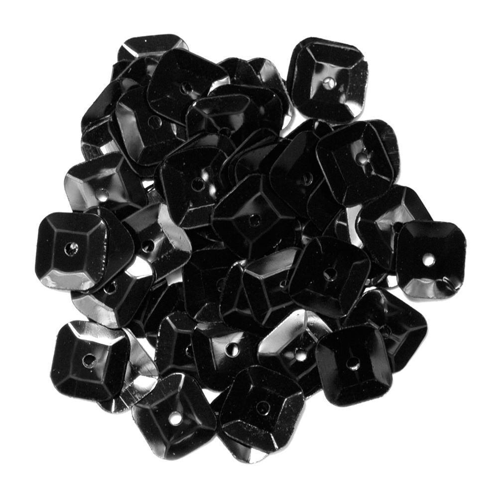 Sequins: Square: 7mm: Black
