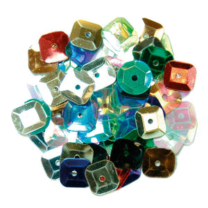 Sequins: Square: 7mm: Multi-coloured