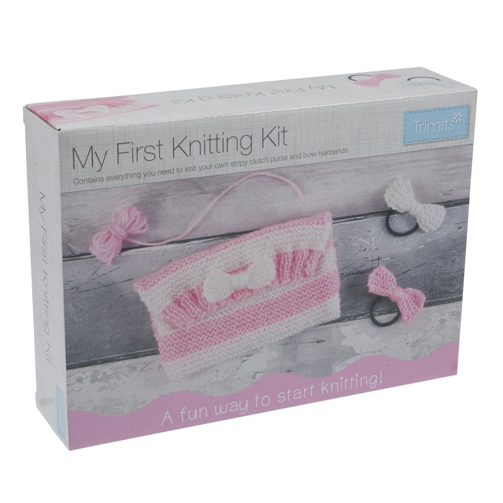 Knitting Kit: My First Knitting Kit: Clutch Bag & Hairbands