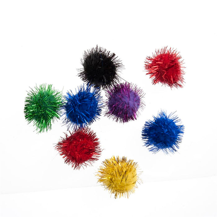 Glitter Pom Pom: 2.5cm (1in): Assorted Colours: Pack 8