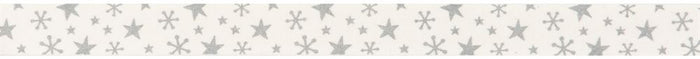 Bowtique Christmas: Metallic Stars: Silver: 25m x 15mm