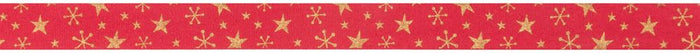 Bowtique Christmas: Metallic Gold Stars: Red: 25m x 15mm