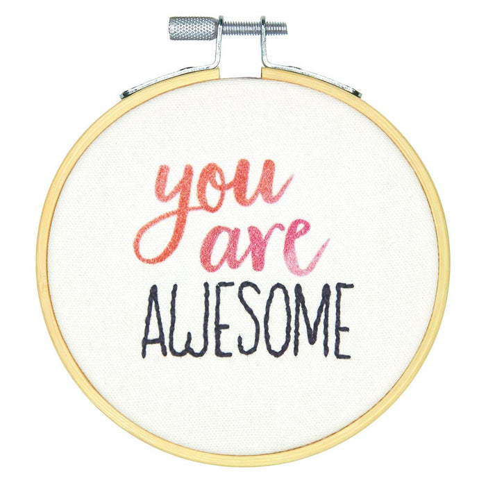 Embroidery Kit with Hoop: Crewel: You Are Awesome
