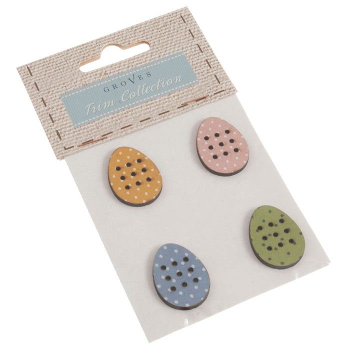 Carded Buttons: Egg: Size: 25mm: Pack of 4