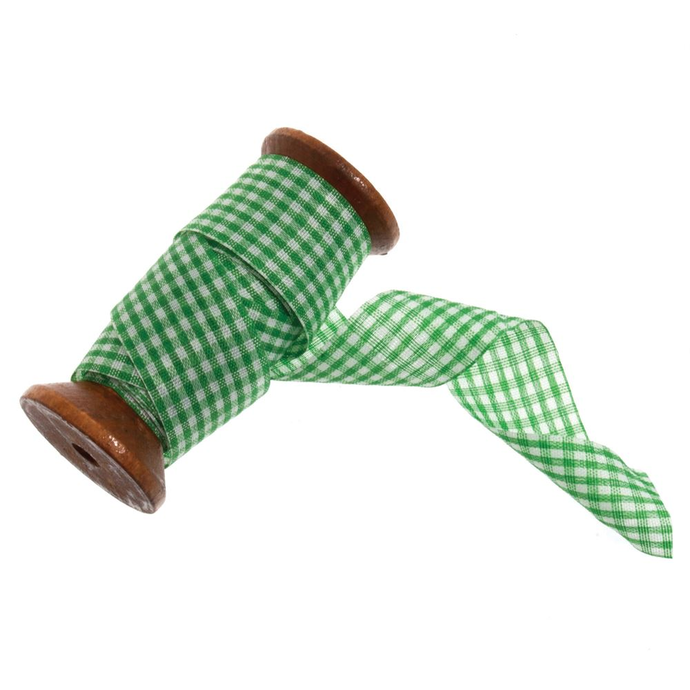 Gingham Ribbon: 5m x 25mm: Green