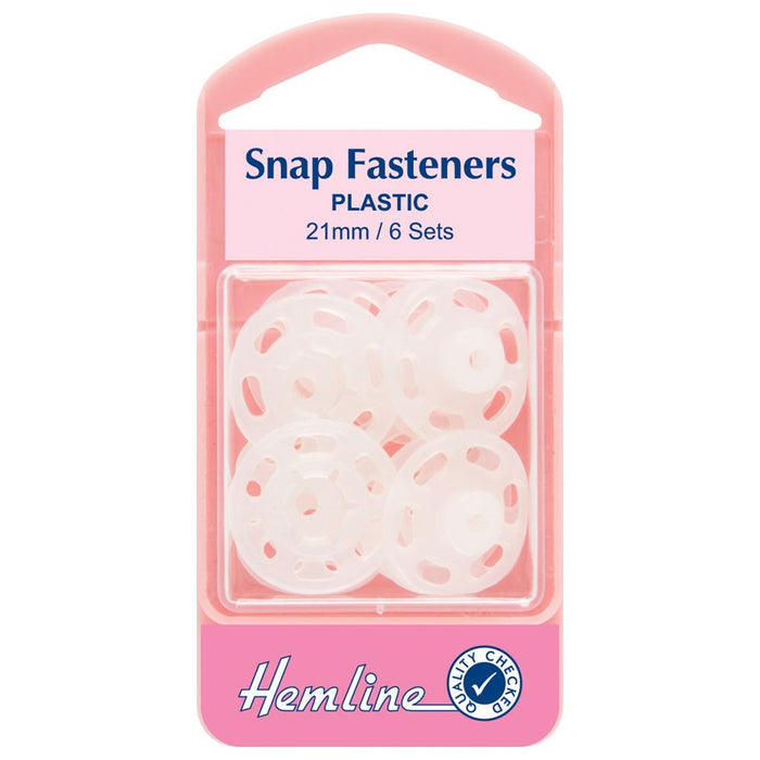Snap Fasteners: Sew-on: Clear (Plastic): 21mm: Pack of 6
