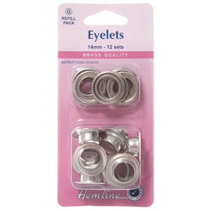 Eyelets Refill Pack: Nickel/Silver - 14mm (G)
