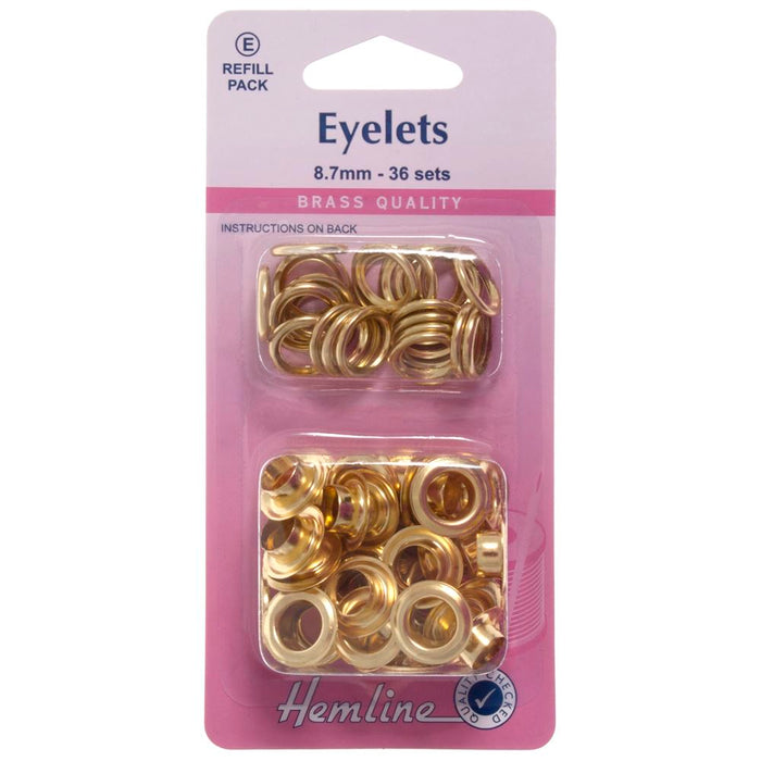 Eyelets Refill Pack: Gold/Brass - 8.7mm (E)