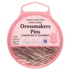 Fine Dressmakers Pins: Nickel - 33mm, 320pcs