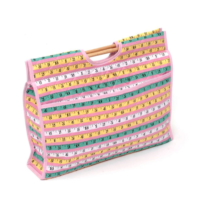 Classic Collection: Craft Bag with Wooden Handles: Pink Measure