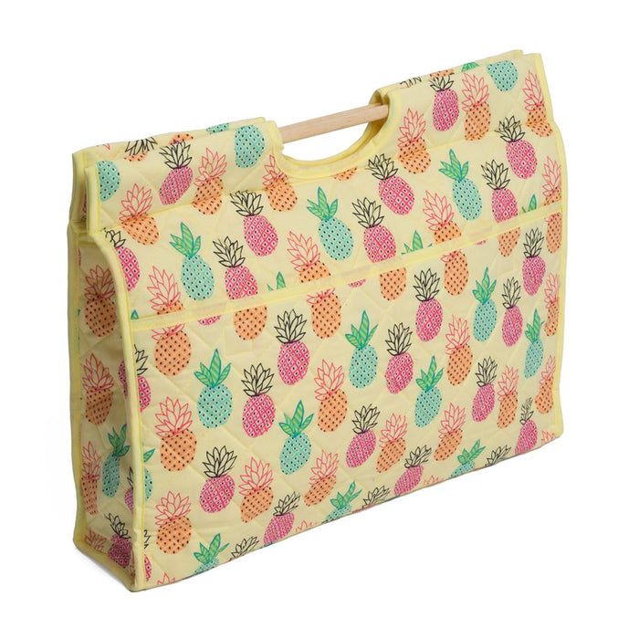 Classic Collection: Craft Bag with Wooden Handles: Pineapple