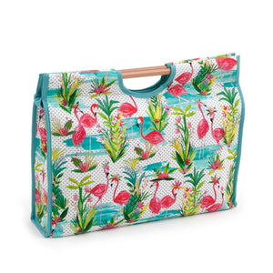 Classic Collection: Craft Bag with Wooden Handles: Flamingos