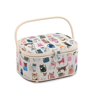 Classic Collection: Sewing Box (L): Oval: Cats in Jumpers