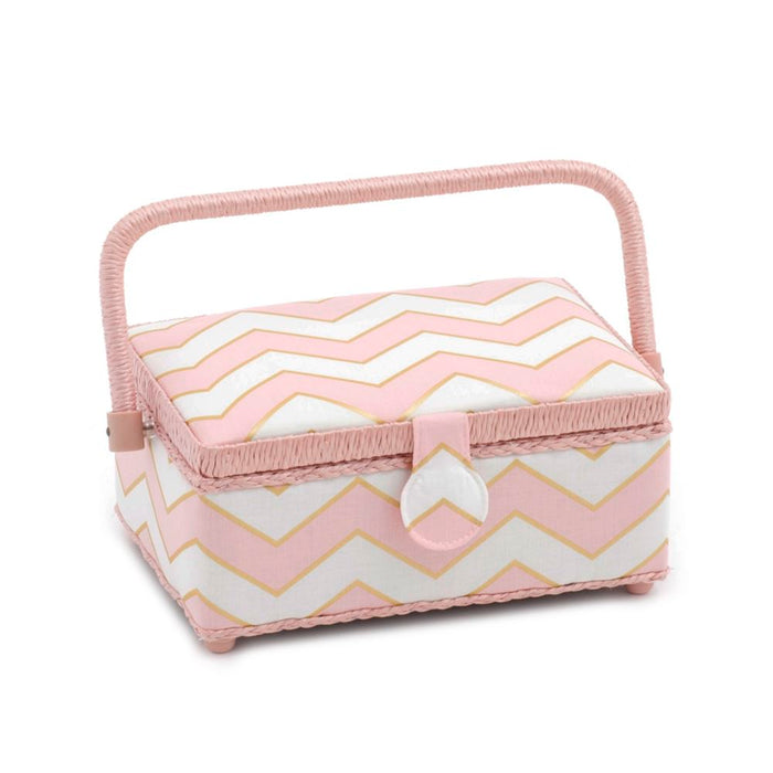 Classic Collection: Sewing Box (S): Rectangle: Chevron - Pearlised Blush