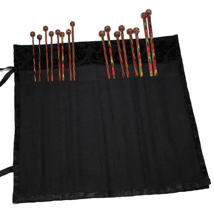 Fabric Knitting Pin Case: Black Jacquap-Around: 40cm