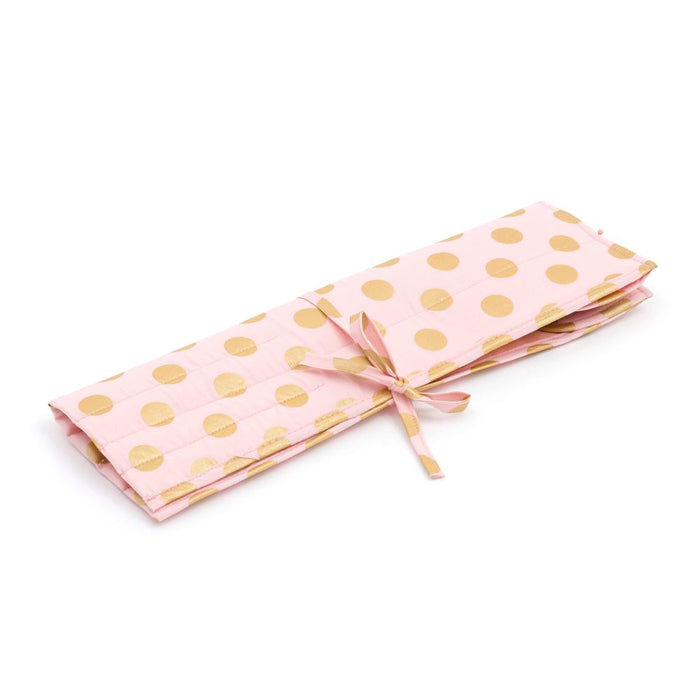 Classic Collection: Knitting Pin Roll: Filled with Bamboo Knitting Pins: Blush and Gold Dot