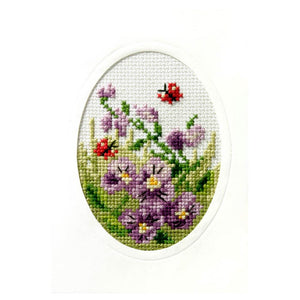 Cross Stitch Card: Pansies