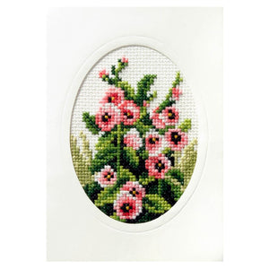 Cross Stitch Card: Hollyhocks
