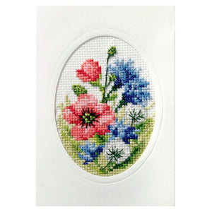 Cross Stitch Card: Poppies