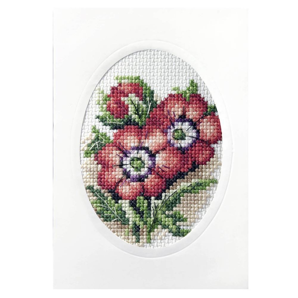 Cross Stitch Card: Anemones