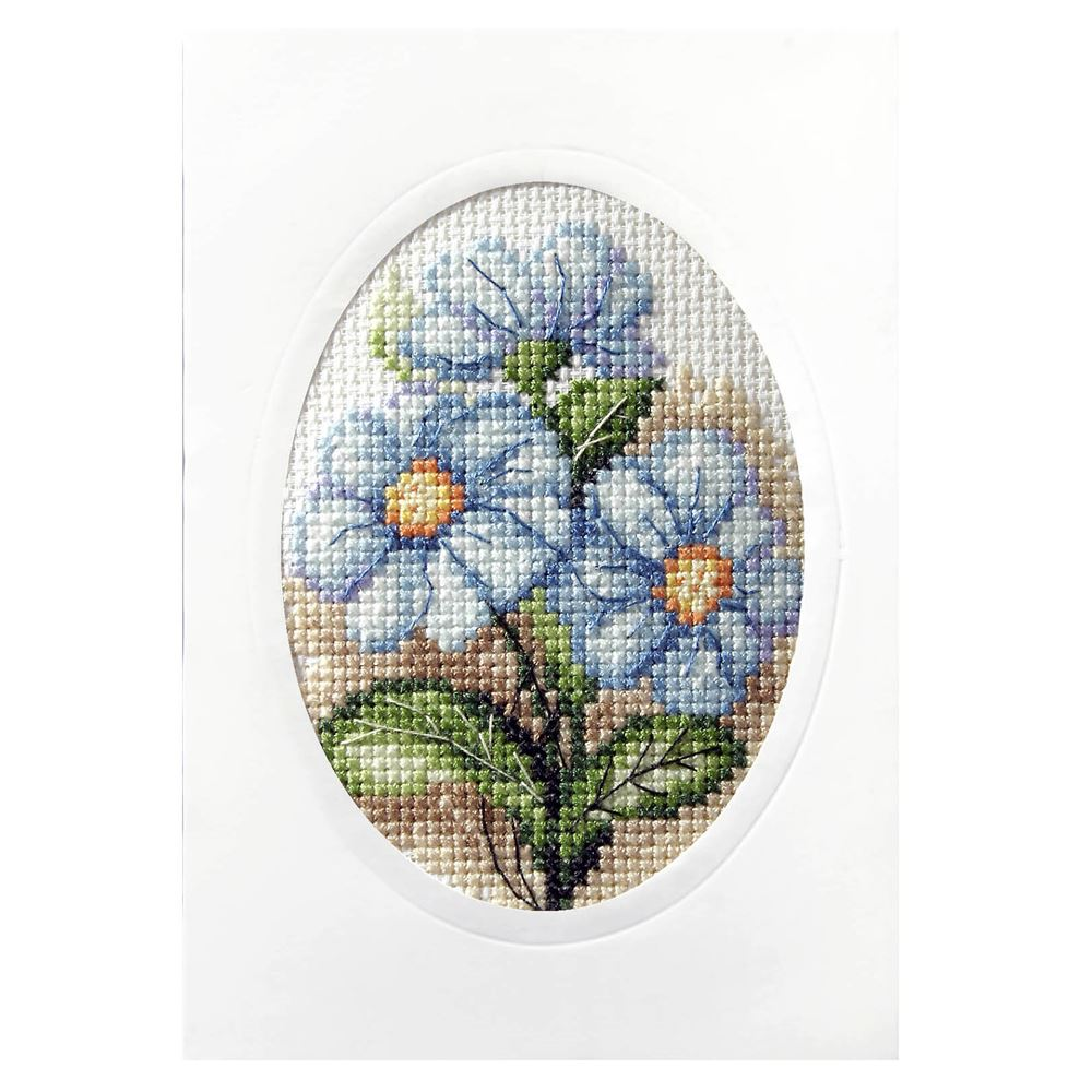 Cross Stitch Card: Blue Flowers