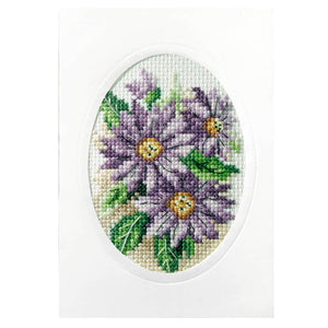 Cross Stitch Card: Dahlias