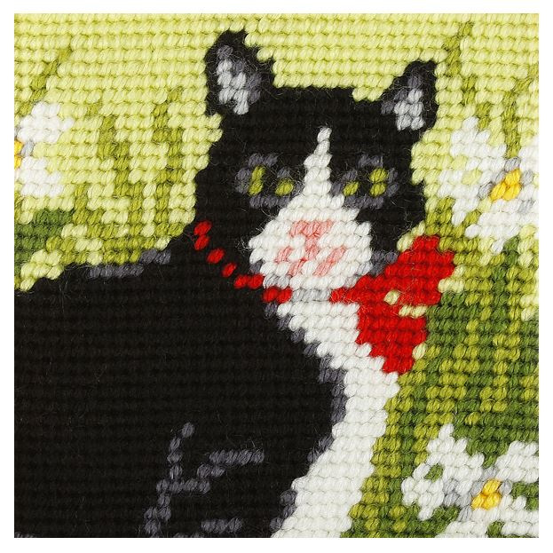 Embroidery Kit: Black & White Cat