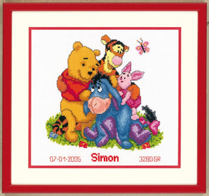 Counted Cross Stitch Kit: Birth Record: Disney: Winnie & Friends