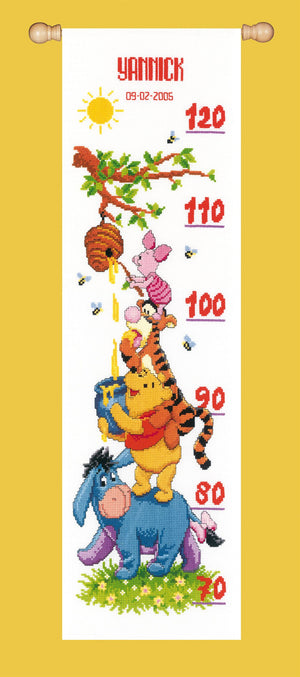 Counted Cross Stitch Kit: Height Chart: Disney: Winnie and Friends