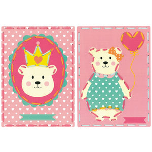 Embroidery Kit: Cards: Bear Crown and Balloon: Set of 2