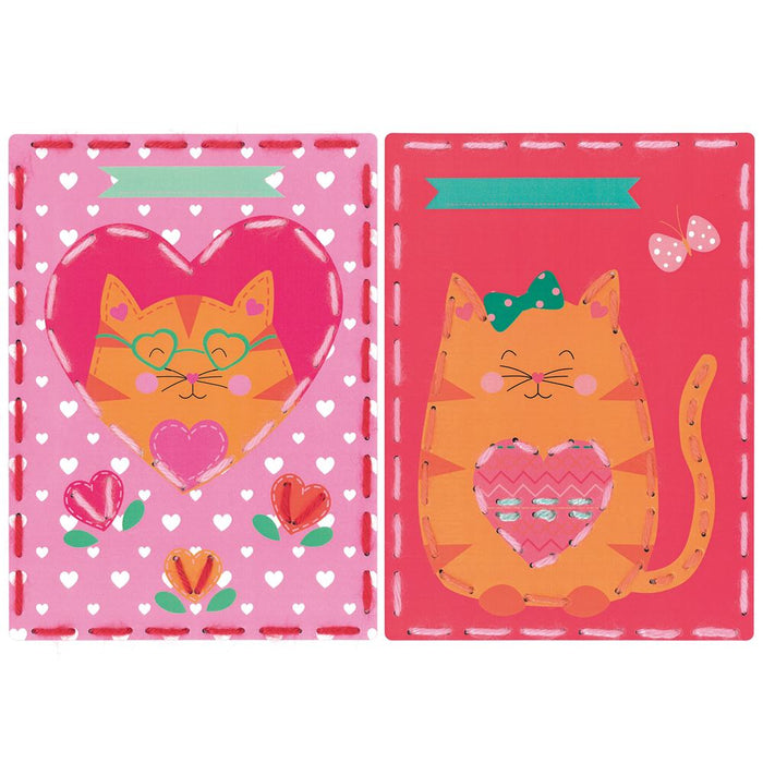 Embroidery Kit: Cards: Cat with Hearts: Set of 2