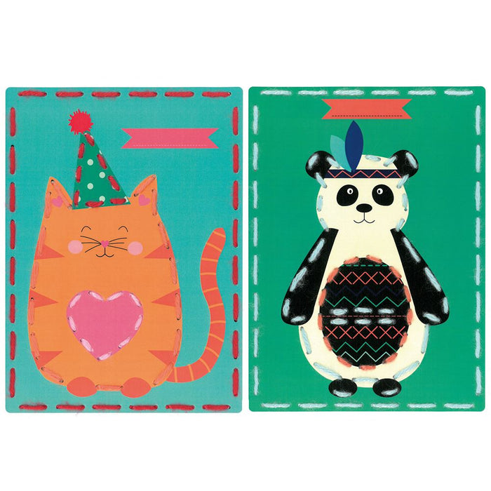 Embroidery Kit: Cards: Cat and Panda: Set of 2