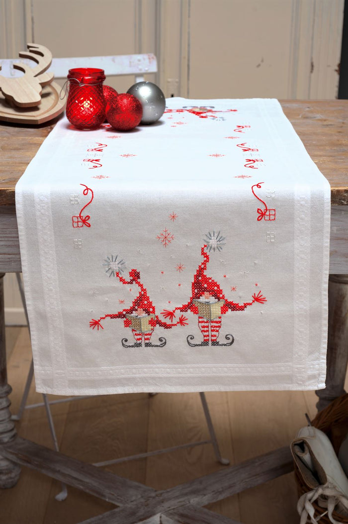 Counted Cross Stitch Kit: Runner: Christmas Gnomes