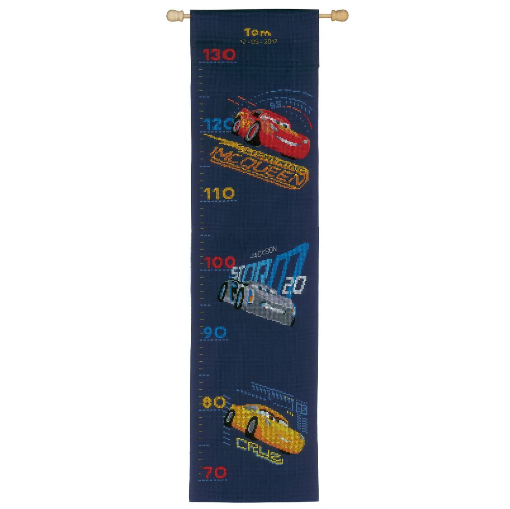 Counted Cross Stitch Kit: Height Chart: Disney: Cars - Screeching Tyres