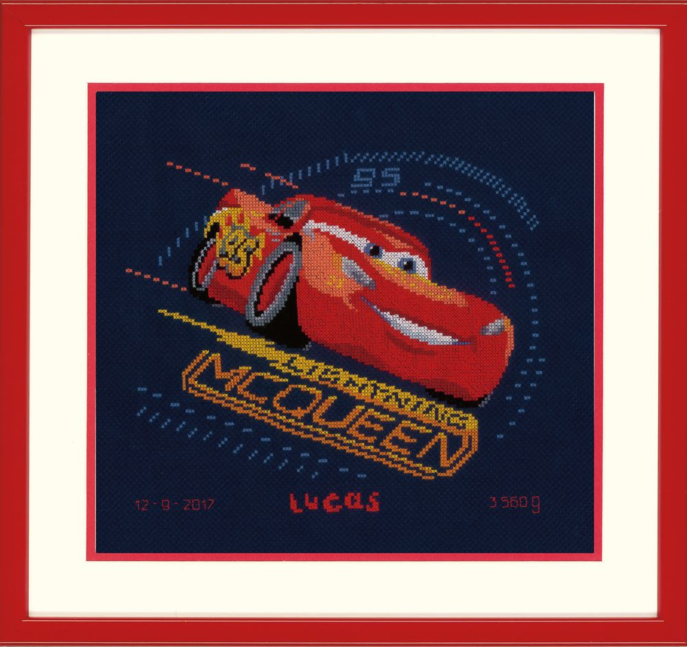 Counted Cross Stitch Kit: Birth Record: Disney: Cars - Screeching Tyres