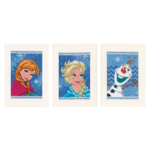 Counted Cross Stitch Kit: Cards: Disney: Frozen - Elsa, Olaf & Anna: Set of 3