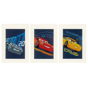 Counted Cross Stitch Kit: Cards: Disney: Cars - Screeching Tyres: Set of 3
