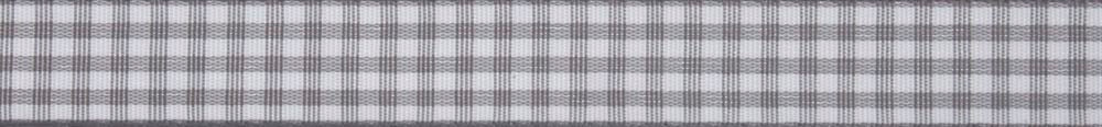 Gingham: 5m x 15mm: Grey