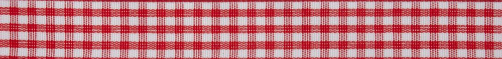Gingham: 5m x 15mm: Red